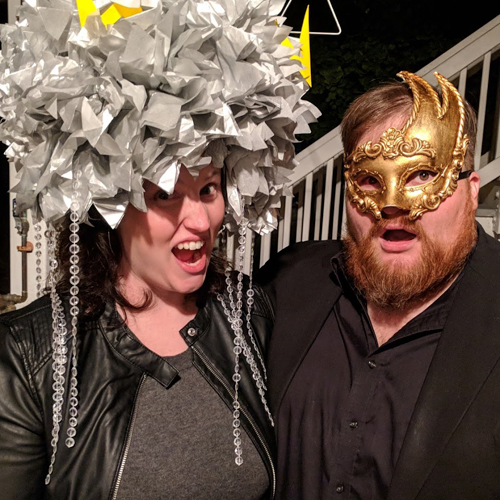 """Costume was missing something - like darkness - to really be effective. Also pictured: the ever talented and Double Bear Rolled team member, Lyndsay, with her """"dark and stormy"""" costume."""