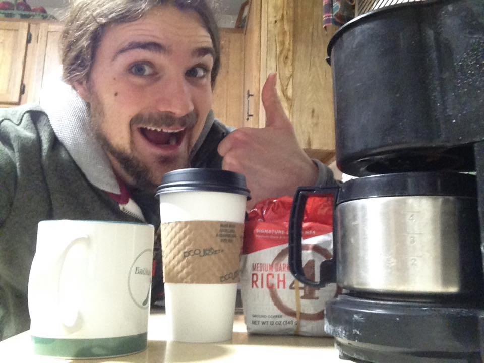 Who's making their own coffee instead of going to an overpriced cafe? This guy!