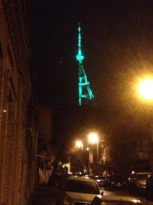 TV tower in the holiday spirit