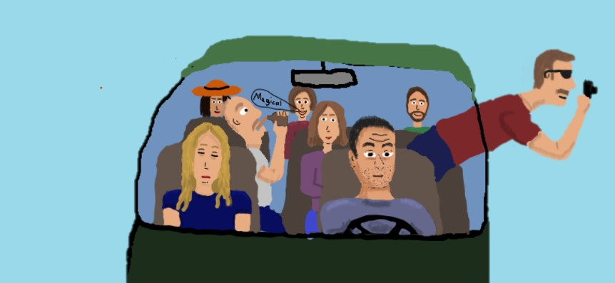 "Characters"": Nadine (hat), Remi (drinking), Teresa (sleeping), Yulia (talking), Lena (middle), Jomari (driving), Me (beard), Alexi (camera)"