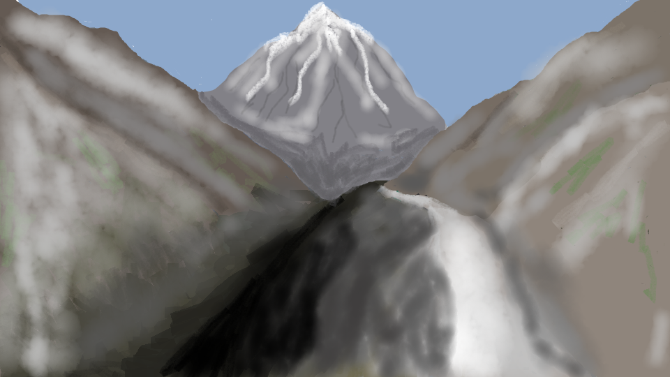 Rendition of the path. Snow can be hard to draw.