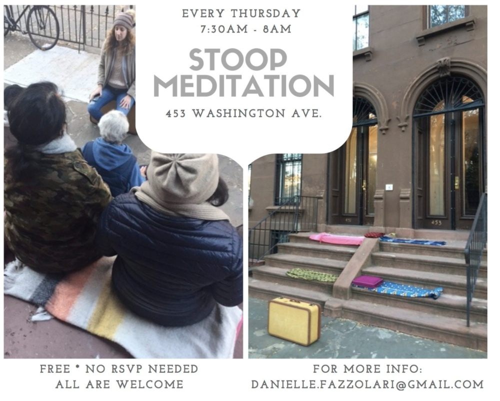 - Free stooop sesh! A certified meditation teacher, Danielle Fazzolari is hosting free guided sessions outside her house every Thursday! She also works at NYC studio MNDFL. Shout out to danifazz. Full article on blog as usual