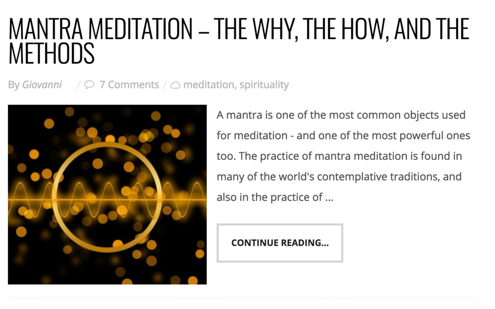 - Highly recommend this article on mantra meditation by Giovanni from Liveanddare.com. In my opinion he is the most insightful and articulate authority in the meditation space! I've also linked him on my blog in the news section ❤️😊