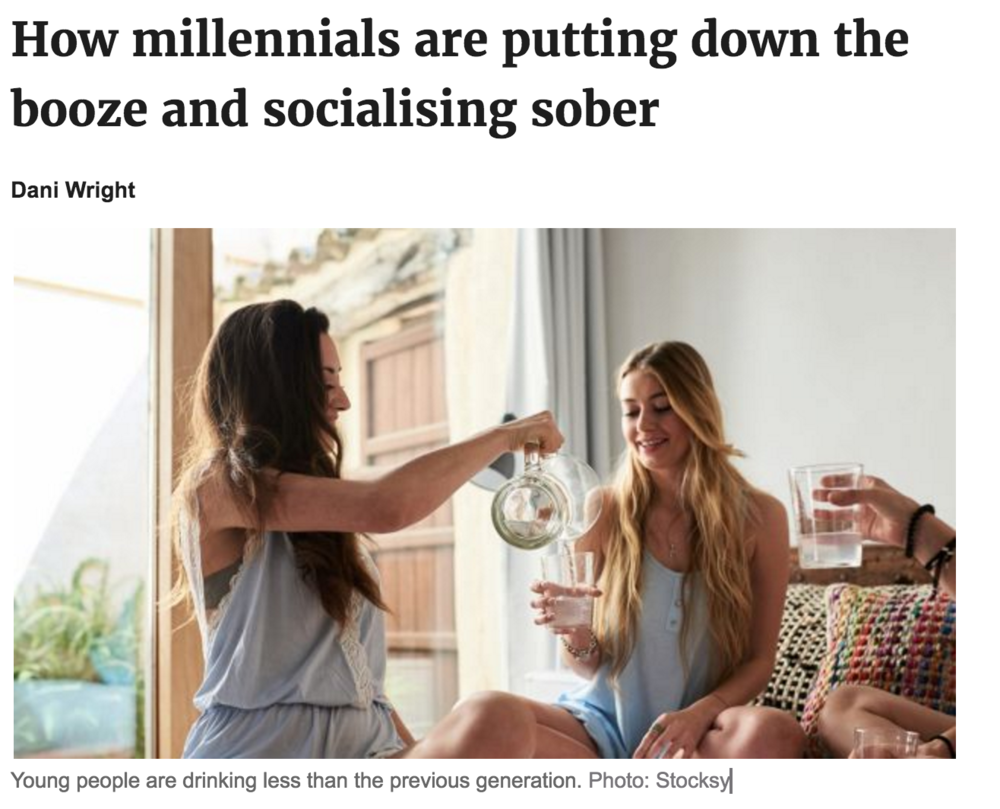 - Great to see this trend in Australia! Not an easy place to avoid a drink. I have nothing against alcohol, just not a fan of the social pressures around it.