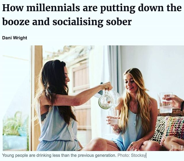 "Great to see this trend in Australia! Not an easy place to avoid a drink. I have nothing against alcohol, but am not a fan of the social pressures around it! ⚡""A decade ago, a sober table in a blur of drinkers would have been unusual, and caused much derision, but mindful millennials have led the trend towards abstinence. The 2016 National Drug Strategy Household Survey report showed that Australians under 30 were drinking less than in previous generations, and that just under a quarter (22.9 per cent) were teetotallers"". Full article on blog. Hope everyone had a great weekend! 😊"