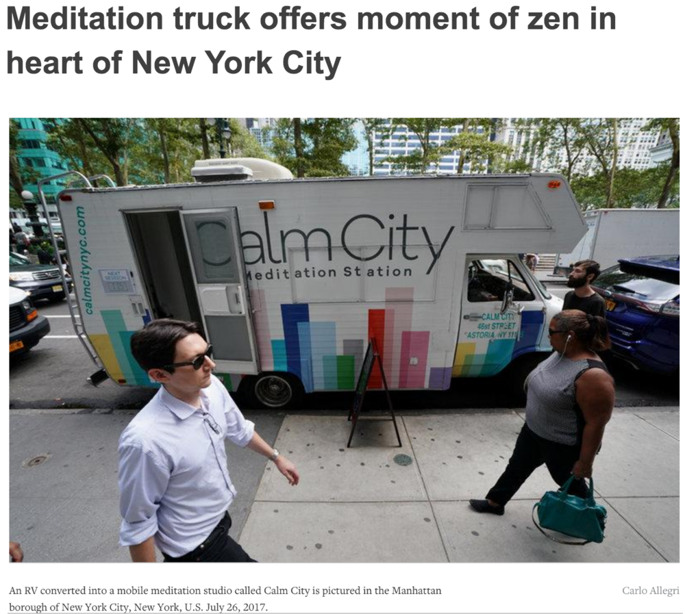 - Certified meditation teacher Kristin Westbrook offered guided meditation sessions inside of her converted RV truck on Wednesday in midtown Manhattan and encouraged frazzled passersby to join her for a 10-minute mental break.