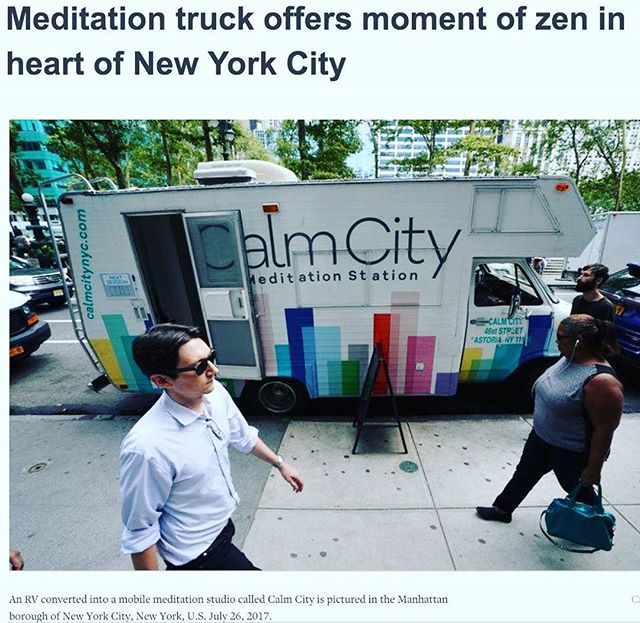 Certified meditation teacher Kristin Westbrook offered guided meditation sessions inside of her converted RV truck on Wednesday in midtown Manhattan and encouraged frazzled passersby to join her for a 10-minute mental break. Link on my blog. This would work in London! Or any major city! 😊🙏❤️