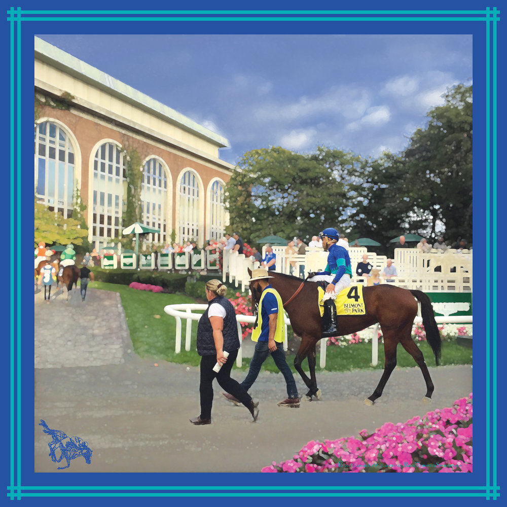 The Owner/Breeder's horse raced in The Belmont Stakes. This is a commission by a family member celebrating this milestone moment. Image supplied by the family member. -