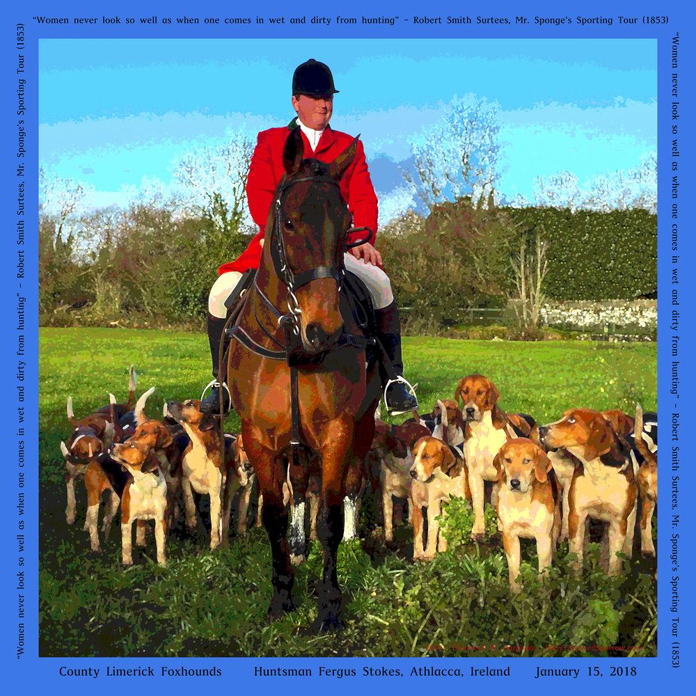 A group of friends fox hunting in Ireland with Limerick and County Clare have a silk souvenir of the trip in addition to the memories of a rollicking good time -