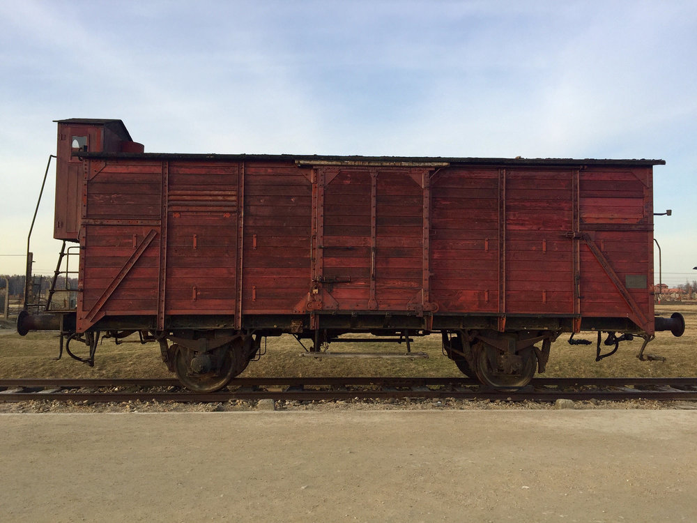 Freight car commemorating the more than 400,000 Hungarian Jews who were deported to Auschwitz-Birkenau in the Spring and Summer of 1944.