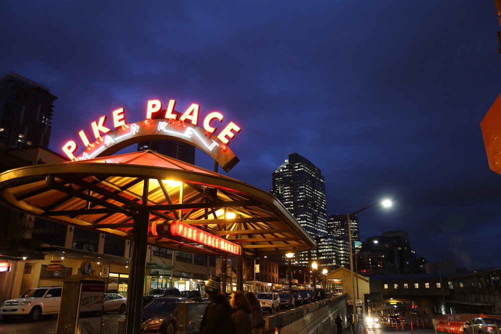 Downtown Seattle and Pike Place in Seattle, Washington at night