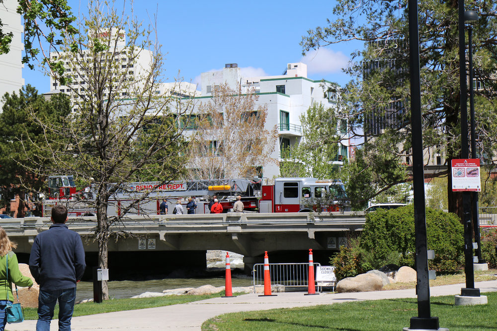 The river walk in Reno, Nevada. The Truckee River.