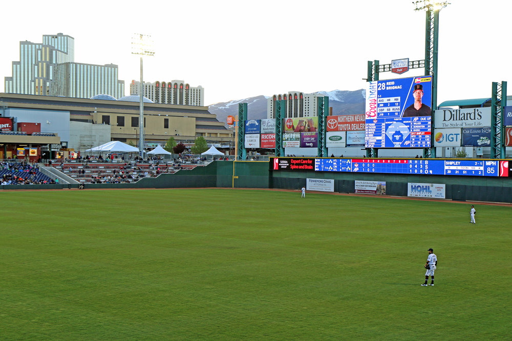 The Aces Baseball Games in Reno, Nevada with fireworks at night.
