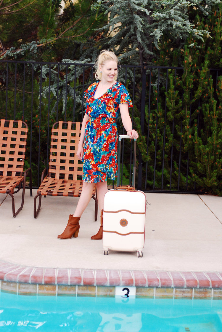 The most ADORABLE styled travel shoot with lifestyle and travel blogger Bri Sul and her cute Delsey luggage bag.