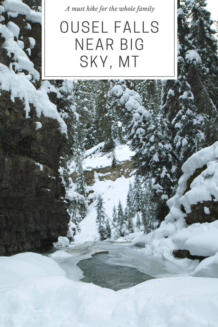 Hiking Ousel Falls Trail near Big Sky Montana in the Winter