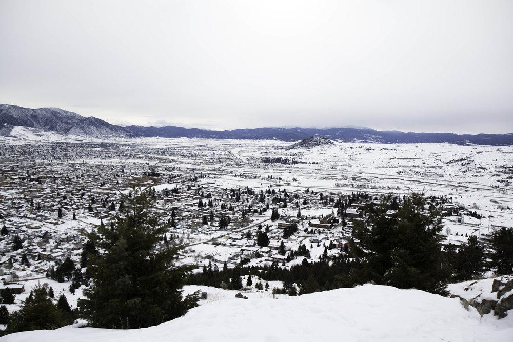 Winter hiking near Butte, Montana