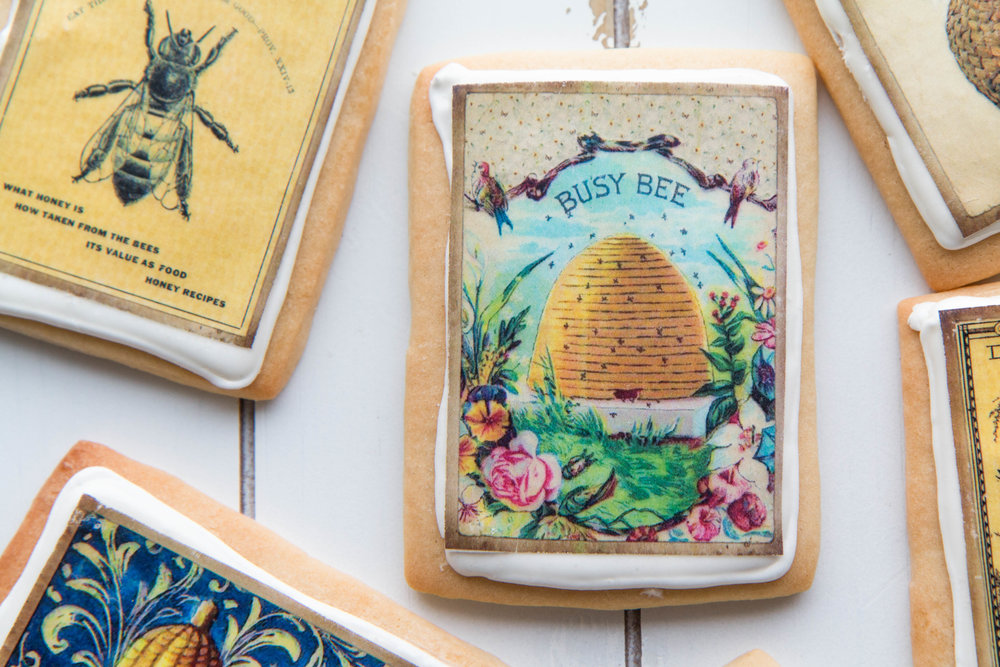 Bee themed wafer paper cookies by Fancy Flours. So cute and easy to make!