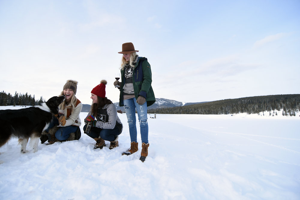 Winter Photo Shoot at Hyalite Reservoir for Live Montanably and Valo Cellars
