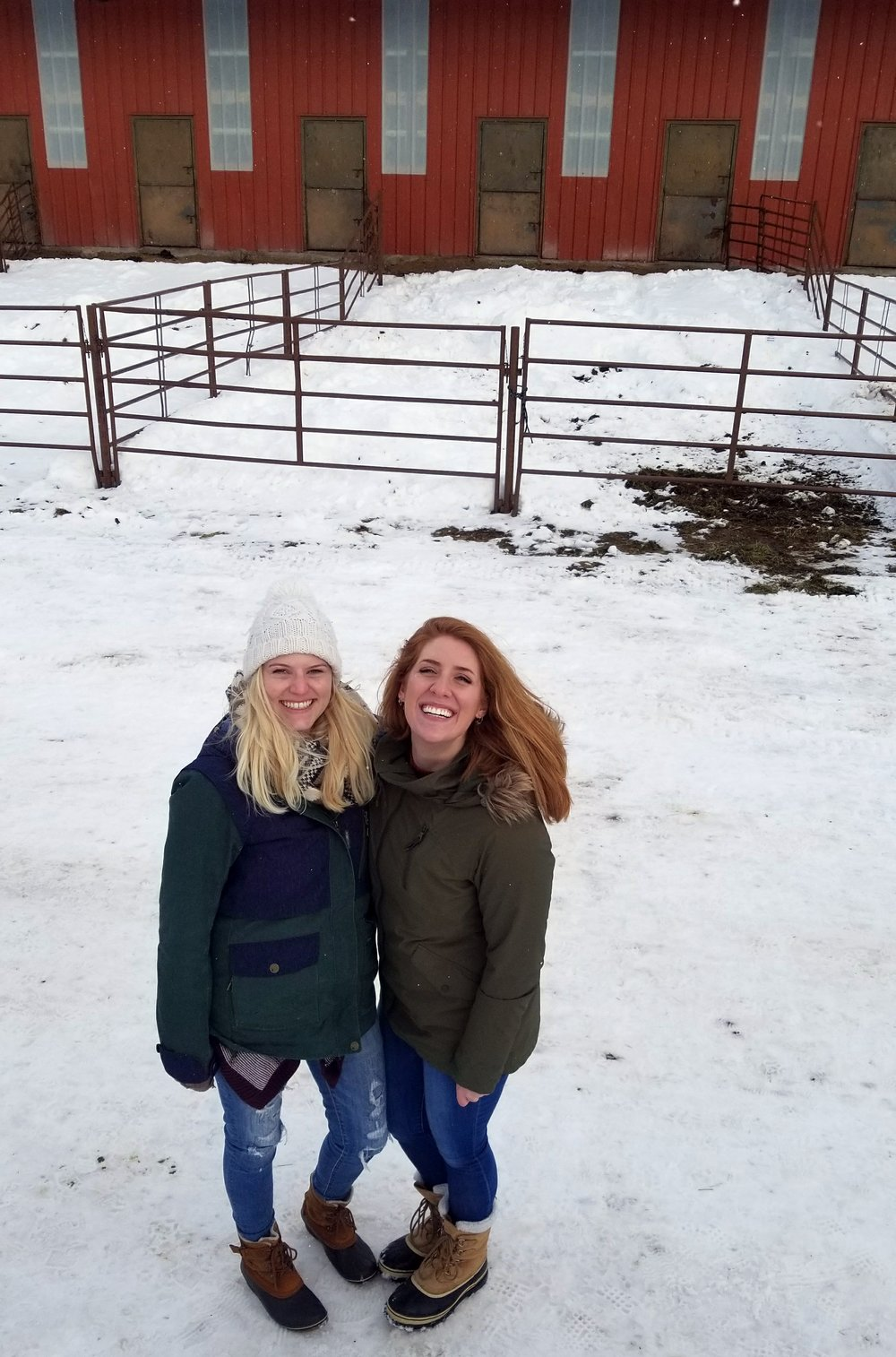 My new friend Cait and I in Big Sky attending ski joring. It was fun but cold!