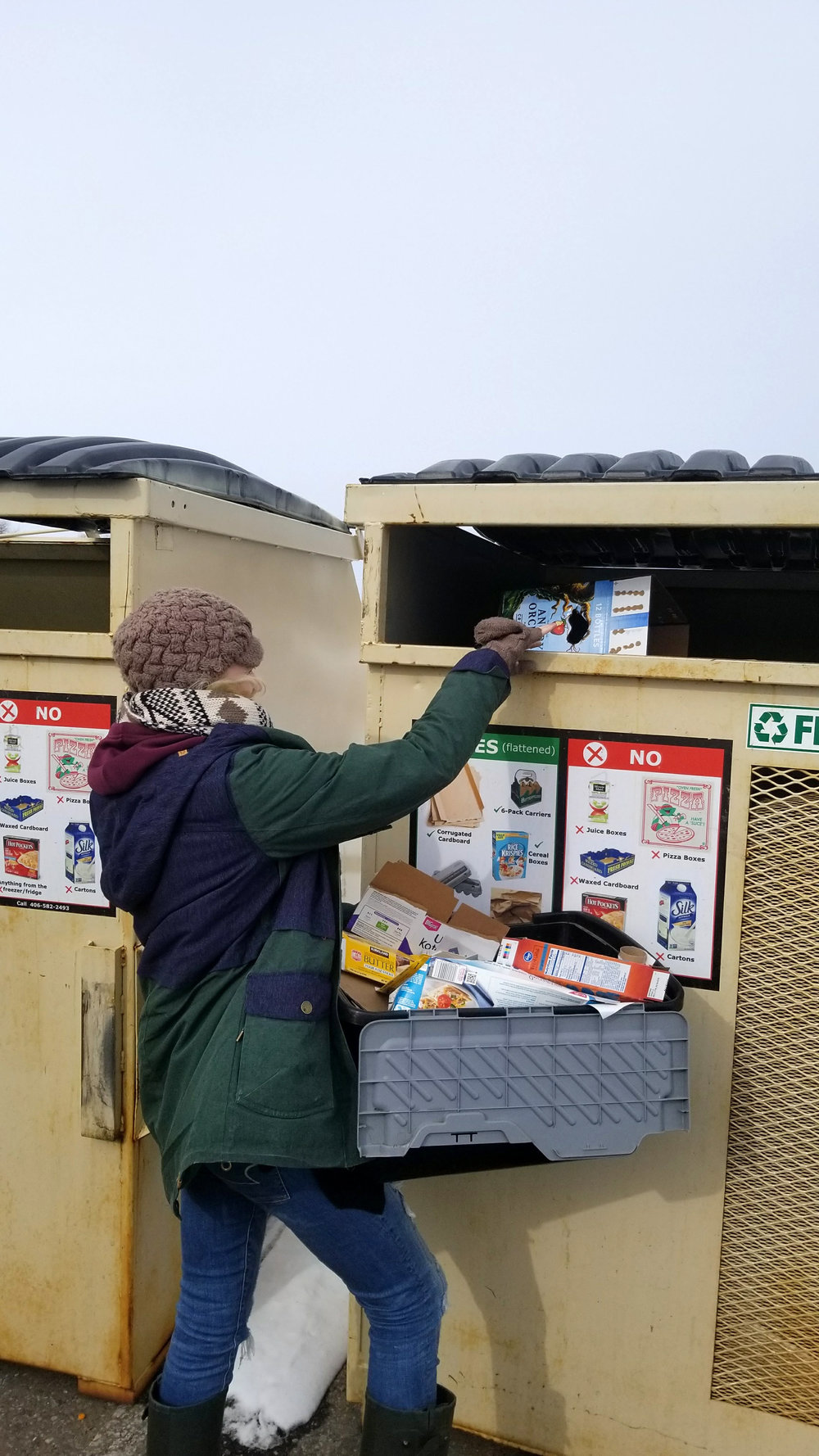 I try to do all that I can to help save the planet. Here I am recycling. We save everything we can for recycling and we try to use reuse able products whenever possible. I HATE plastic and wish it would be banned off this planet.