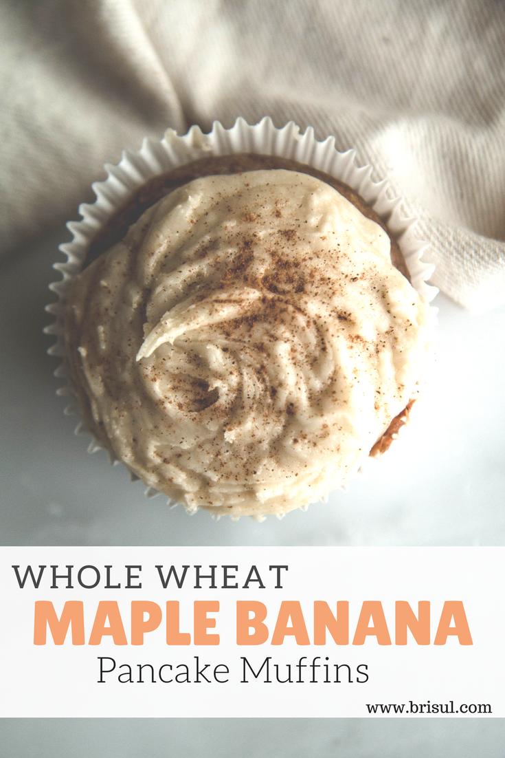 Whole Wheat Maple Banana Pancake Muffins