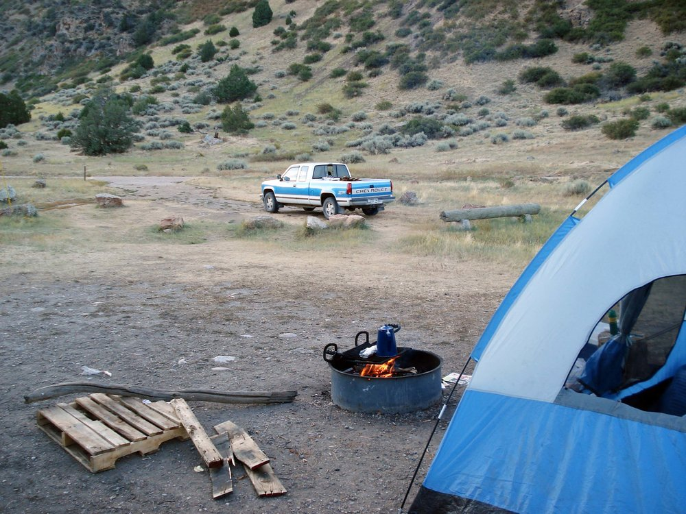 Camping on the Madison River near Bozeman, Montana