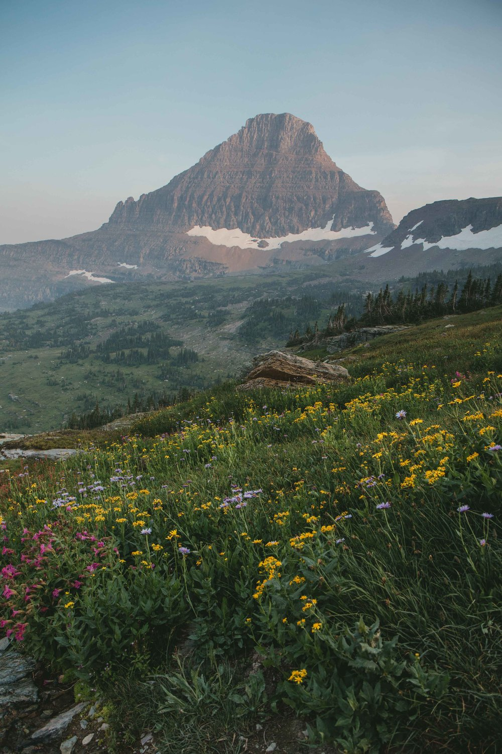 Logan Pass in Glacier National Park during fire season. One of the most beautiful national parks in Montana.