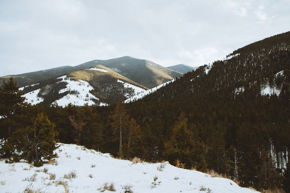 Beautiful snow covered hills outside of Red Lodge, Montana