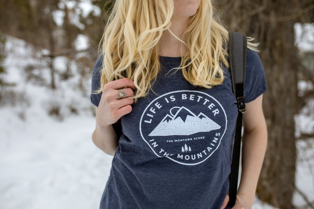 Bri Sul - Life is better it in the mountains tee-shirt from the Montana Scene