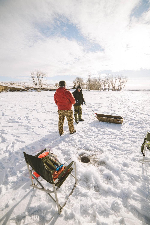 Ice fishing at Petrolia Lake near Winnett, Montana. Beautiful photos takes at Sunrise.