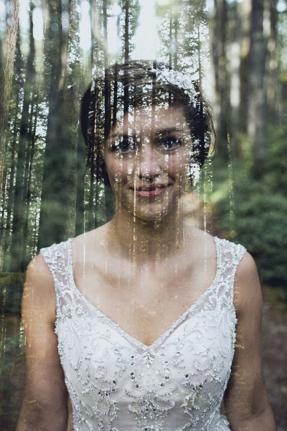 bride double exposure with trees
