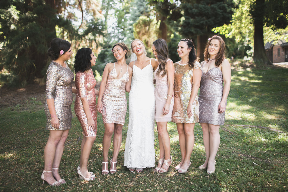 bridesmaids group shot wearing sequin dresses