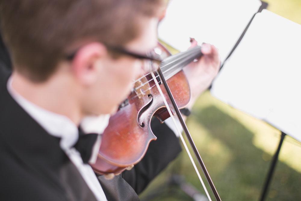 quartet violinist plays at wedding