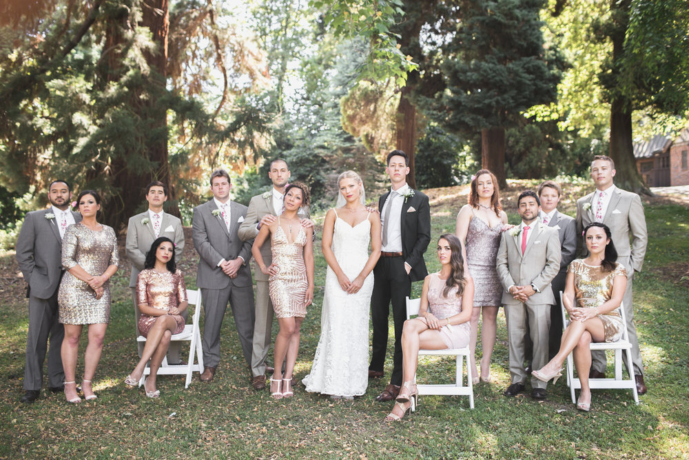 full wedding party group shot at leschi park in seattle