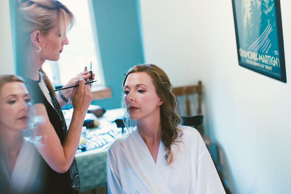 bridal makeup getting ready before wedding