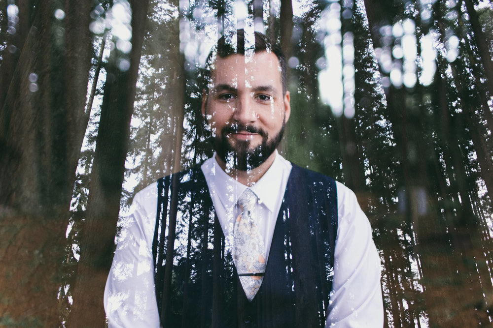 double exposure groom and trees