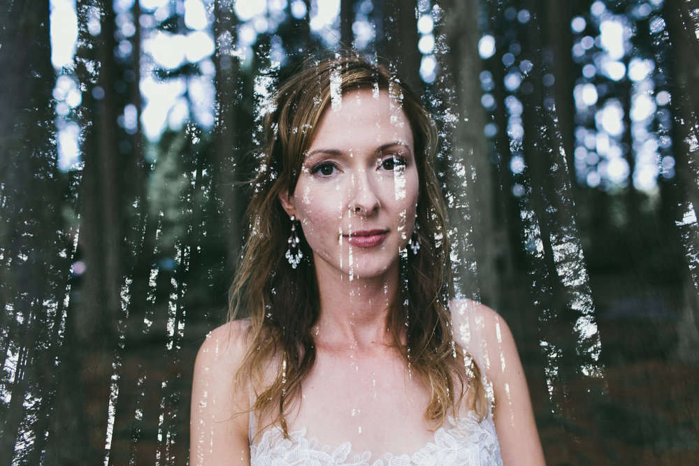 double exposure bride and trees
