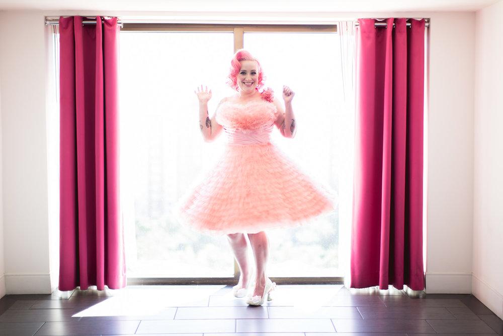 pink wedding dress offbeat bride whith tattoos