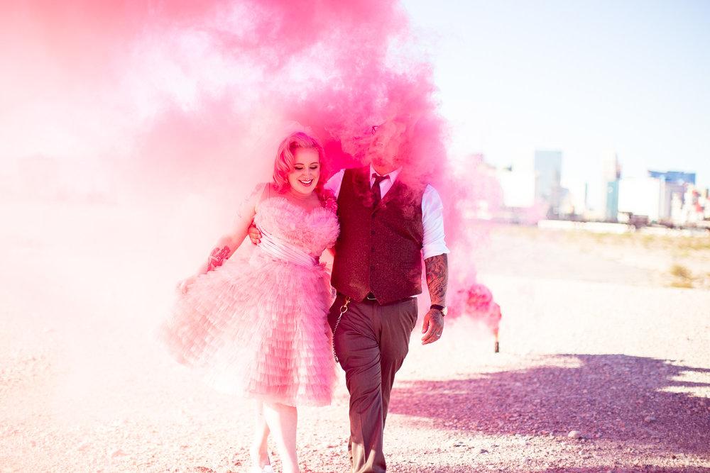 pink smoke pink wedding