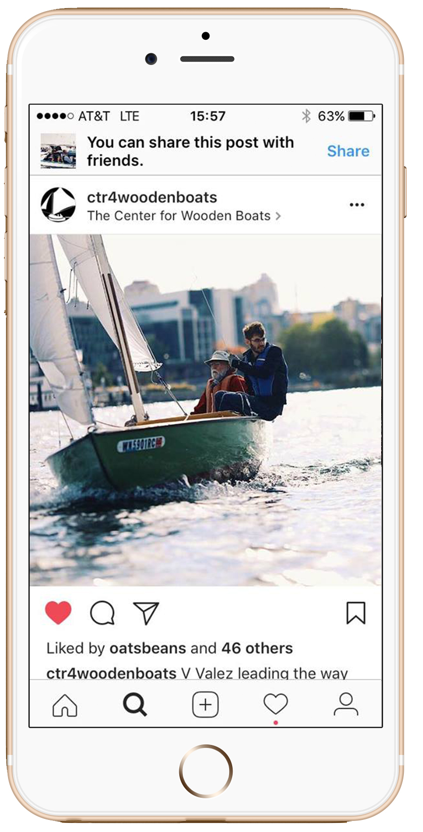 Photos for the Center for Wooden Boats used on their Instagram profile.