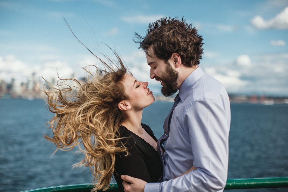 windy day and wild hair on a ferry in seattle