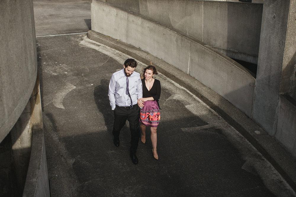 parking garage engagement photographs