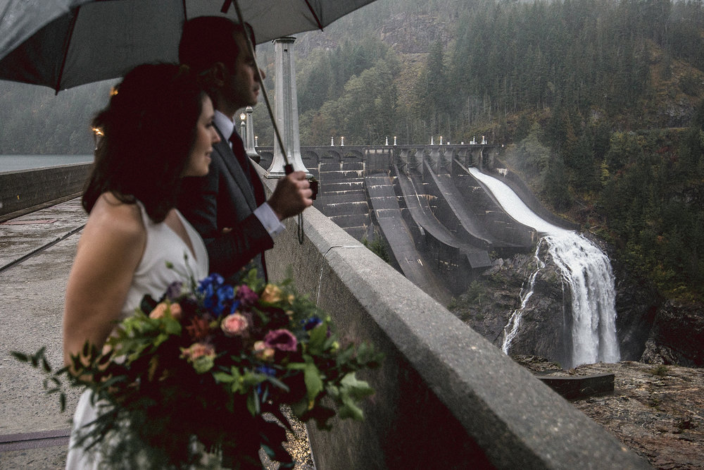 Wedding portrait on Diablo Lake Dam in the North Cascades National Park