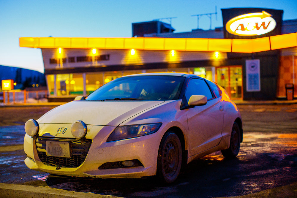 Honda CRZ in front of an A&W restaurant in Canada