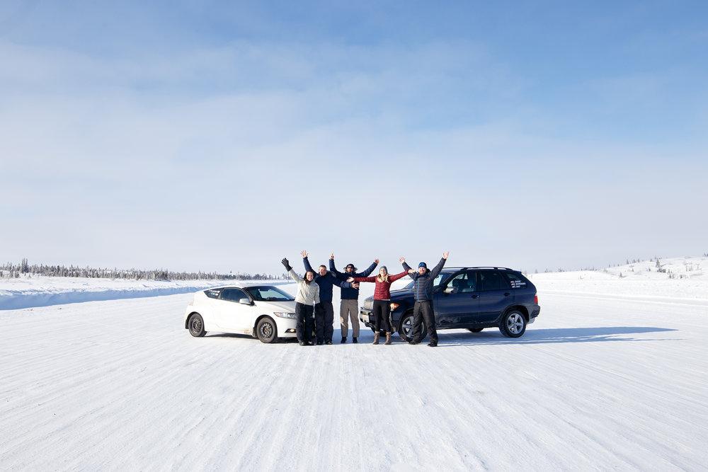 Team Panamera Nunavut crew on Contwoyto Ice Road