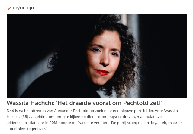 Interview HP/De Tijd Wassila Hachchi 11 december 2018