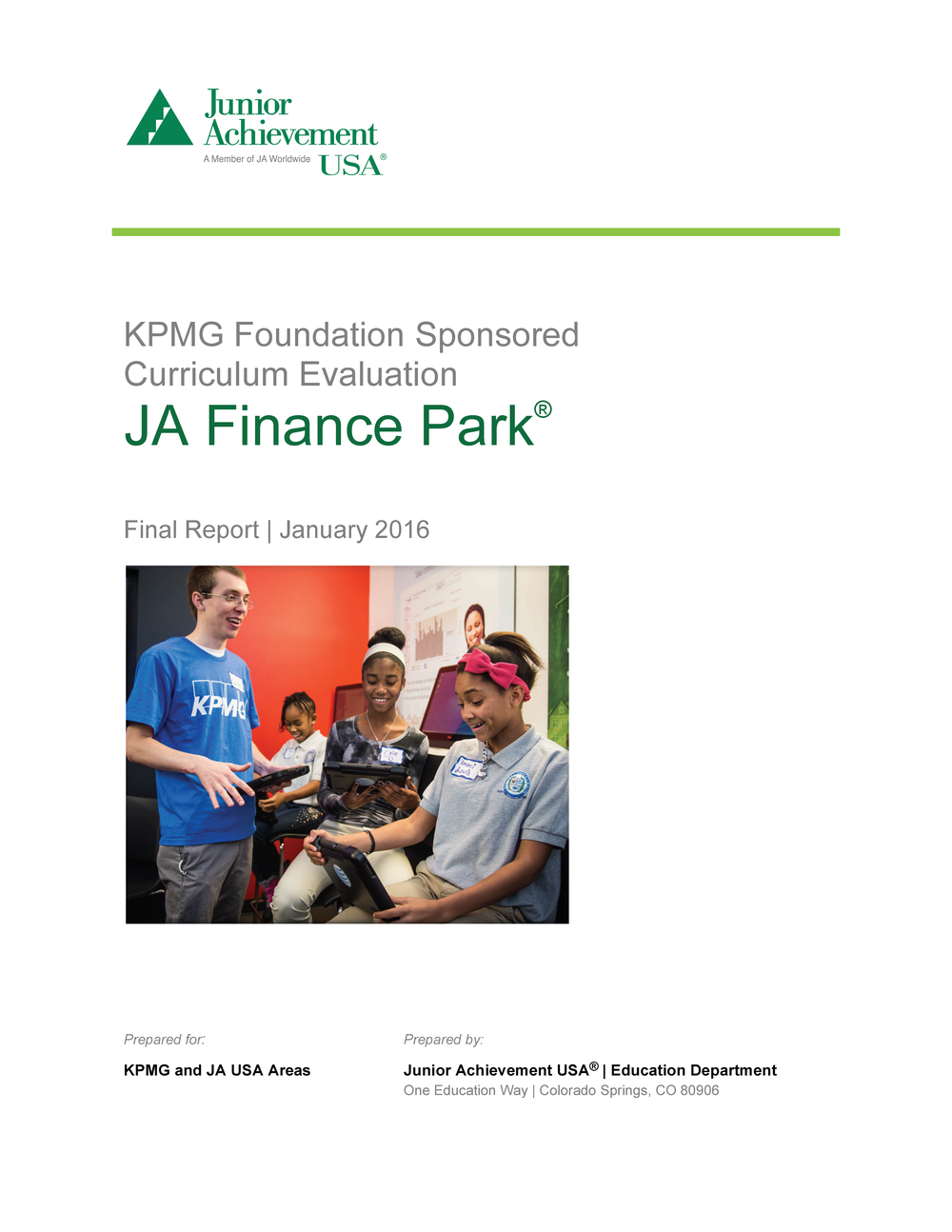 2016 JA Finance Park Evaluation Report