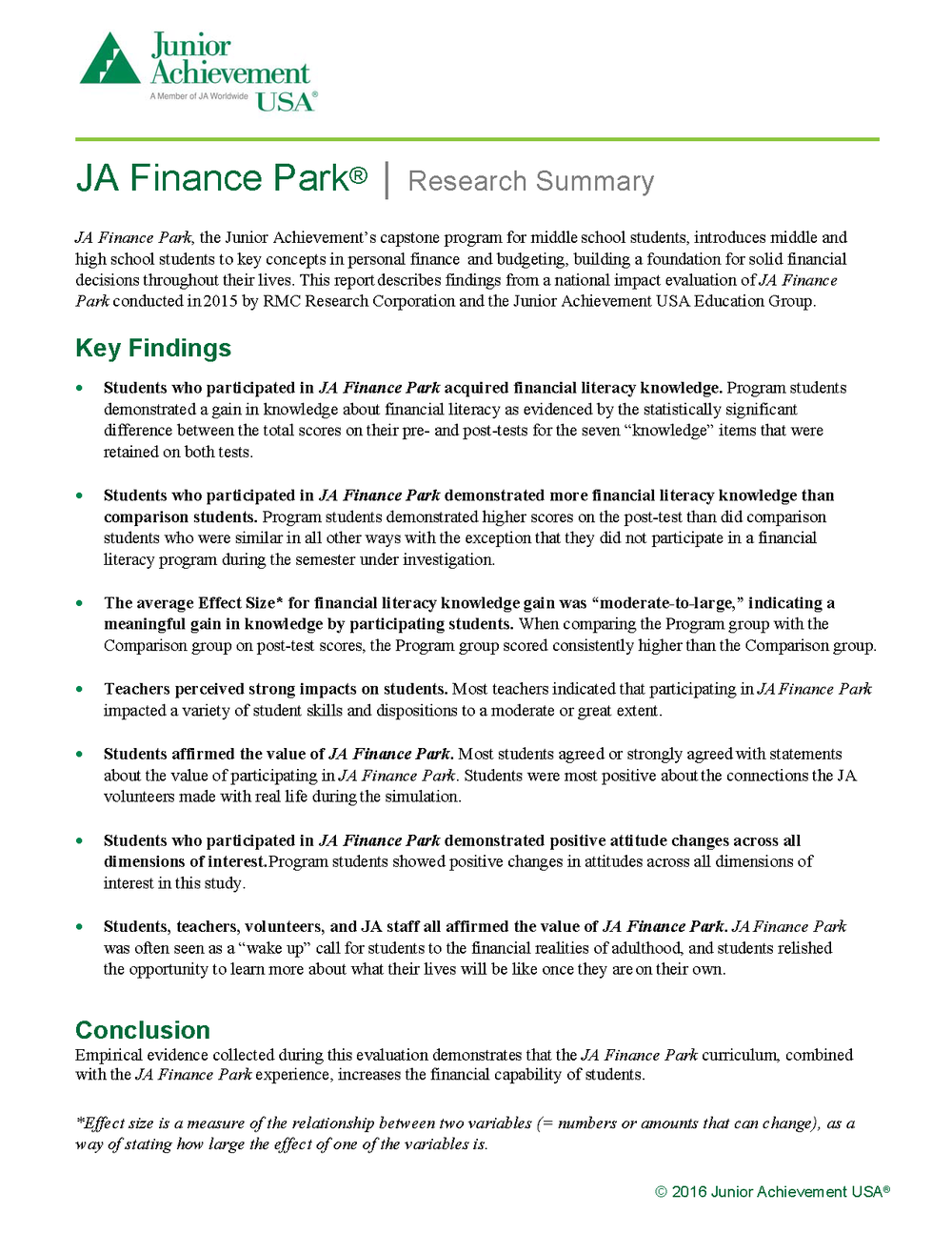 2016 JA Finance Park Evaluation Exec. Summary