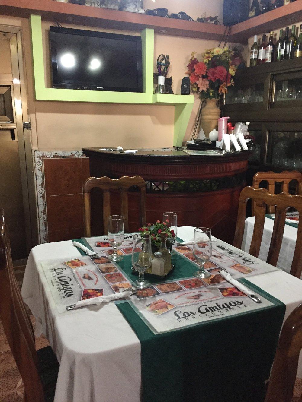 Los Amigos, a paladar (restaurant) in Vedado.