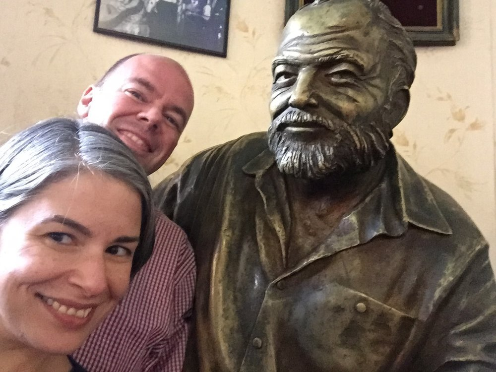 Carrie & Papa & me: Awkward selfie with a statue of Hemingway, perched at the end of the bar at El Floridita.